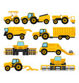 flat set of yellow agricultural machinery vector image vector image