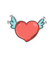 flying heart with wings in doodle style template vector image vector image