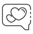heart in bubble chat icon outline style vector image vector image