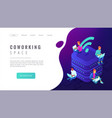 isometric coworking space landing page vector image