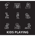 kids playing editable line icons set on vector image