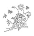 line art decorative rose composition vector image