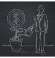 Man watering money flower vector image vector image