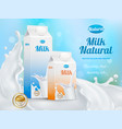 milk advertising realistic poster vector image vector image