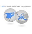 NATO member countries globes vector image vector image