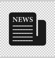 newspaper icon in transparent style news on vector image vector image