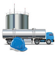 oil industry concept with tank truck vector image vector image