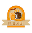 oktoberfest label with traditional objects vector image vector image