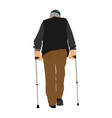 old man person walking with crutches grandfather vector image vector image