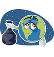 planet earth holding plastic trash bag cart vector image