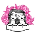 Portrait of mystic Siamese twins and a bouquet of vector image vector image