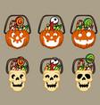 pumpkins and skull halloween basket vector image vector image