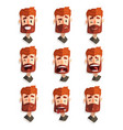 redhead bearded man with emotional face set male vector image vector image