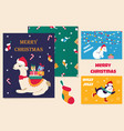 set of christmas cards and holiday pattern vector image