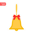 shiny golden christmas bells decorated with red vector image