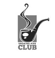 smoking club colorless logo label with pipe vector image