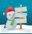 snowman outdoor wood sign cartoon vector image