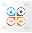 transportation icons set collection of yacht vector image vector image