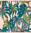 trendy seamless exotic pattern with palm animal vector image vector image