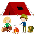 Two people camping out vector image