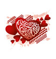 valentine card with red hearts vector image