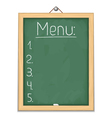 Vertical blackboard with menu vector image