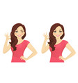 woman gesturing ok vector image vector image