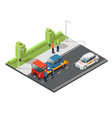 isometric car evacuating service composition vector image