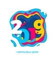 2019 happy new year paper cut card vector image vector image