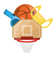 basketbal trophy and win the competition game vector image vector image