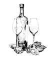 Bottle of wine oysters and two glasses vector image vector image