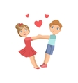 Boy And Girl Swinging WIth Hearts Around Them vector image vector image