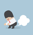 Businessman farting with blank balloon out from hi vector image