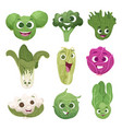 cabbage characters vegetable comic persons with vector image