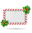 Candy cane frame with holly isolated on white vector image