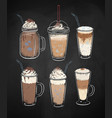 chalked collection dessert coffee drinks vector image vector image