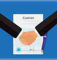 contract handshake in blue background vector image vector image