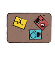 corkboard with notes icon vector image