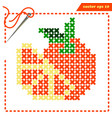 crosstiched simple mandarin with framle and needle vector image vector image