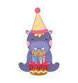 cute and little elephant with party hat and sweet vector image vector image