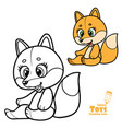 cute cartoon soft toy orange fox outlined vector image vector image