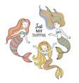 cute little mermaids under sea vector image