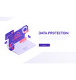 data protection 3d isometric template e vector image vector image