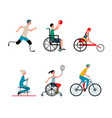 disabled people playing sport - isolated set of vector image vector image