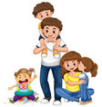 family with parents and three kids vector image