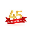 forty-five anniversary luxury logo template with vector image vector image