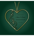 Gold pendant in the shape of heart vector image