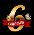 golden 6 years anniversary template with red vector image vector image