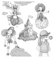 grayscale set teenage girl icons cute cartoon vector image vector image