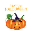 happy halloween card with pumpkins vector image vector image
